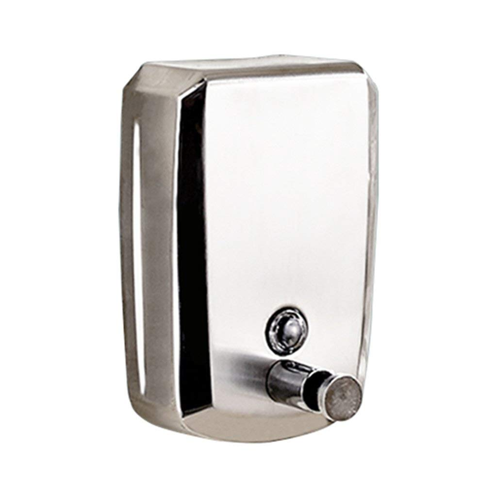 Soap dispenser, push-type hand sanitizer wall-mounted soap dispenser hotel bathroom hand sanitizer bathroom bath liquid box stainless steel soap dispenser ( Color : Silver , Size : 12.520.5cm )