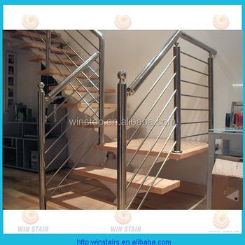 Modern House Stainless Steel Railing Indoor Steel Wood Stairs