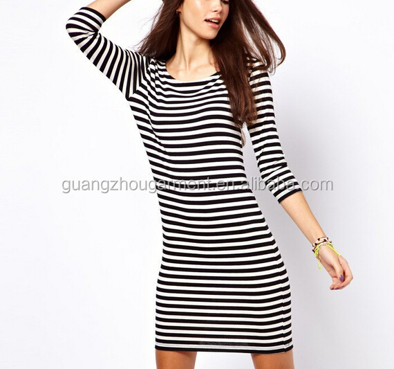 20ea039f3583 New 2015 Summer Women Dress Short Sleeve O Neck Mini Bodycon Dresses Black  White Striped Women