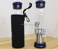18.5 Oz Glass Water Bottle-Extra Strong Crystal Glass Bottle Tea Cup With Tea infuser