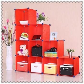 Simple Design Free Combination Plastic Kids Bookshelf Bookcase