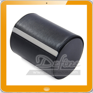 Black Leatherette Tie Case for Storage Travel and Gift Box