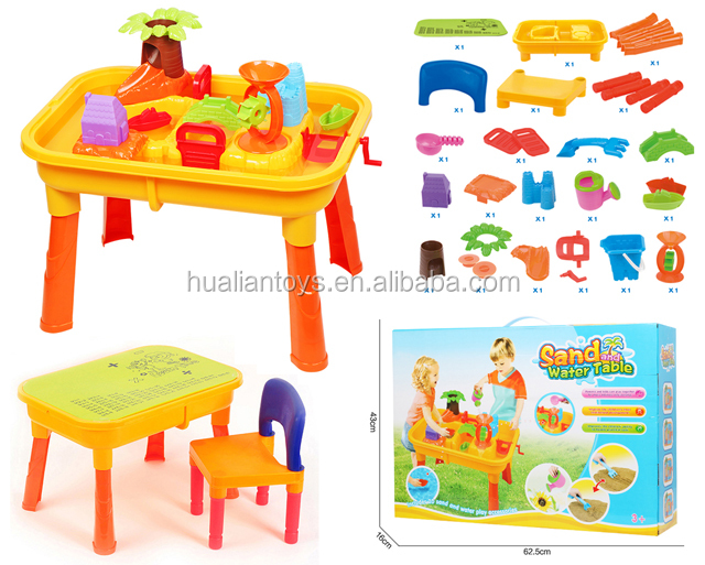 Hualian Outdoor Beach Toys Sand And Water Table Toys With Cover 32pcs