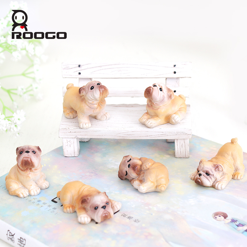 ROOGO resin wholesale mini funny dog shape furnishing article for living room decor
