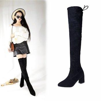 Desain Korea Wanita Musim Dingin Link Boots Grosir Paha Tinggi
