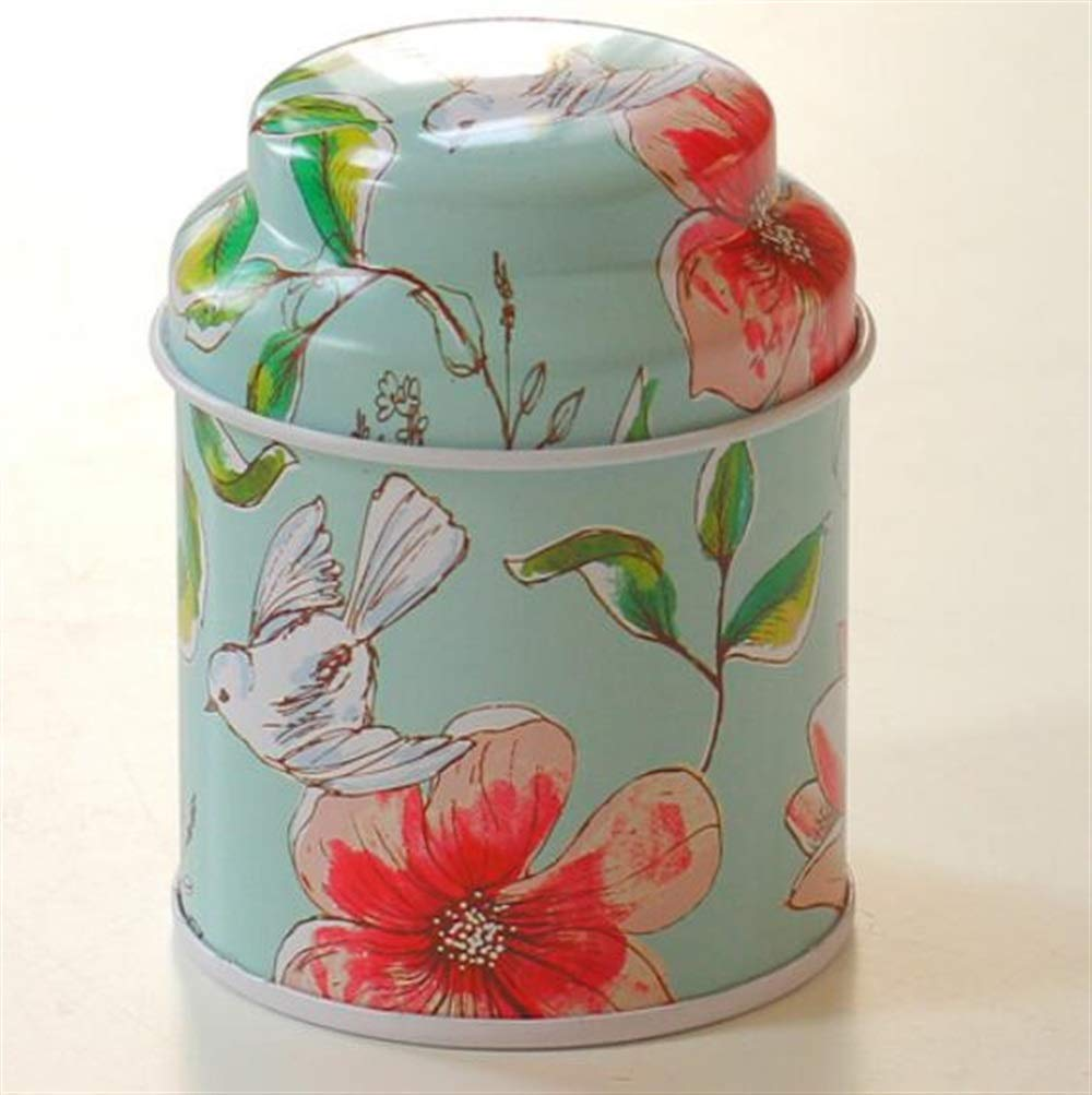 Kicthen Tool Portable Sealed Cans Small Jar Tea Cans Tea Storage(Flower - blue)