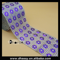 China factory DH-PM006 lacquered purple flower plastic rhinestone mesh roll in silver diamond shine