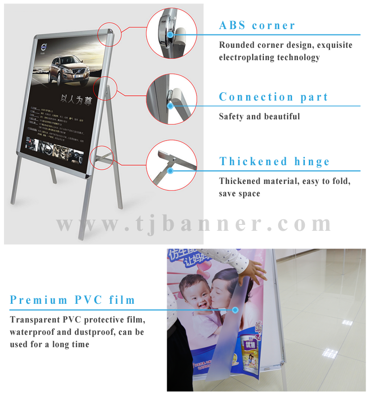 2020 Latest Advertising Portable Aluminum Frame A3 Poster Display Stand