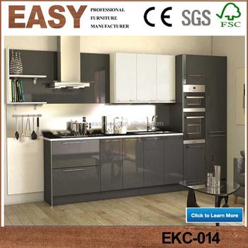 High Gloss Finish Laminate Modern Black Kitchen Cabinets Buy High