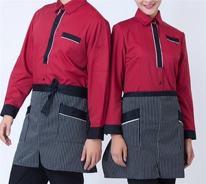 RED AND BLACK Hotel service staff work uniform long sleeve autumn and winter wear