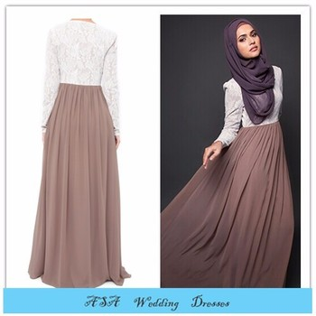 2015 Newest Arab Chiffon Kaftan Long Sleeve Muslim Evening Dresses