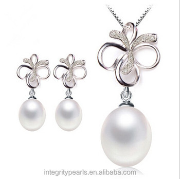 925 Silver Pearl Pendant And Earring Ribbon Bow Real Genuine Elegant Set Design