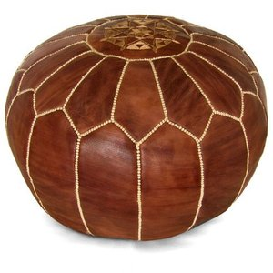 Hand embroidered stitched natural genuine leather Leather Moroccan Pouf