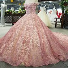 Wholesale Pink Off-Shoulder Heavy Beaded Sequin Long Lady Women Formal Evening Gown