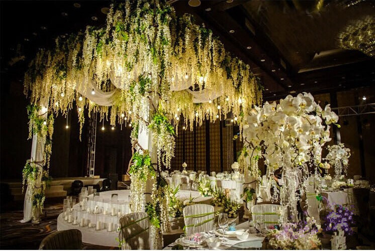 Gnw Flv02 High Quality Artificial Flowers Wisteria Wedding Shelf Hanging Flower Arrangements