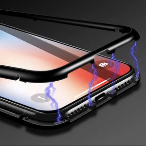 Aluminum Frame Cell Phone Accessories Magnetic Glass Case For Iphone X 7 8 Plus