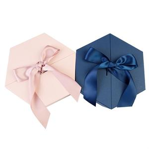New Design Rigid Paper Hexagon Double Door Bridesmaid Gift Box with Ribbon