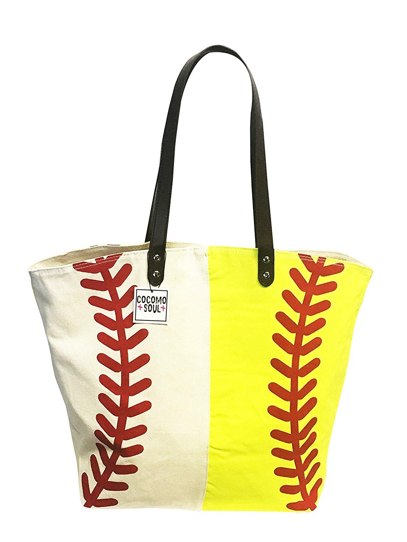 4ee249125ebc Get Quotations · Baseball Softball Canvas Tote Bag Handbag Large Oversize  Sports 20 x 17 Inches