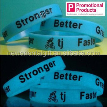 Promotional gift glow in the dark silicone bracelet