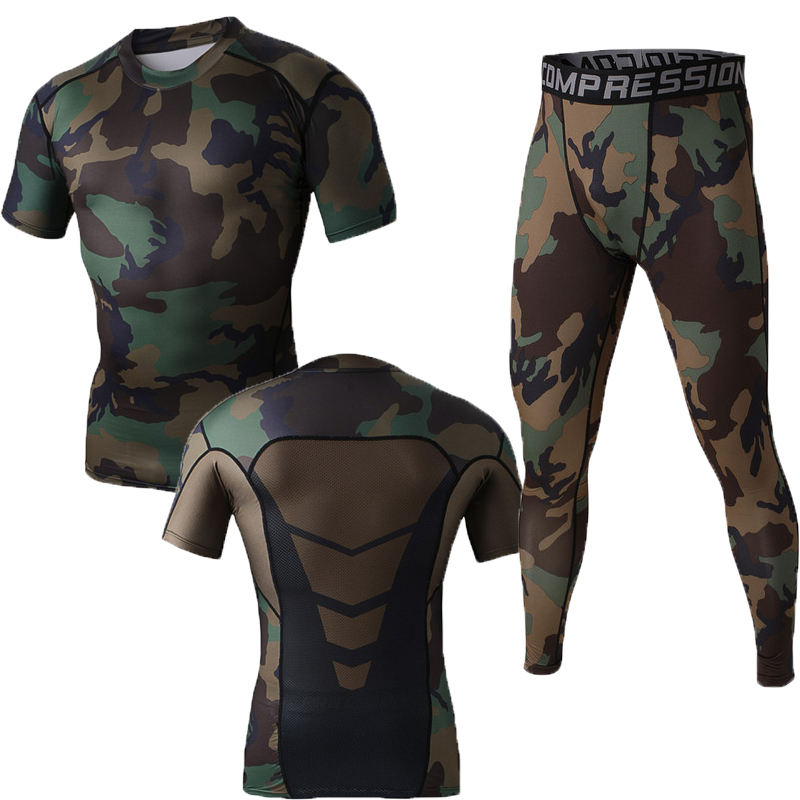 Fashion Men Amy Green Camo Men Compression T Shirt Pants sets Summer Style Fitness Training suit Spandex Running Shirt Quick dry
