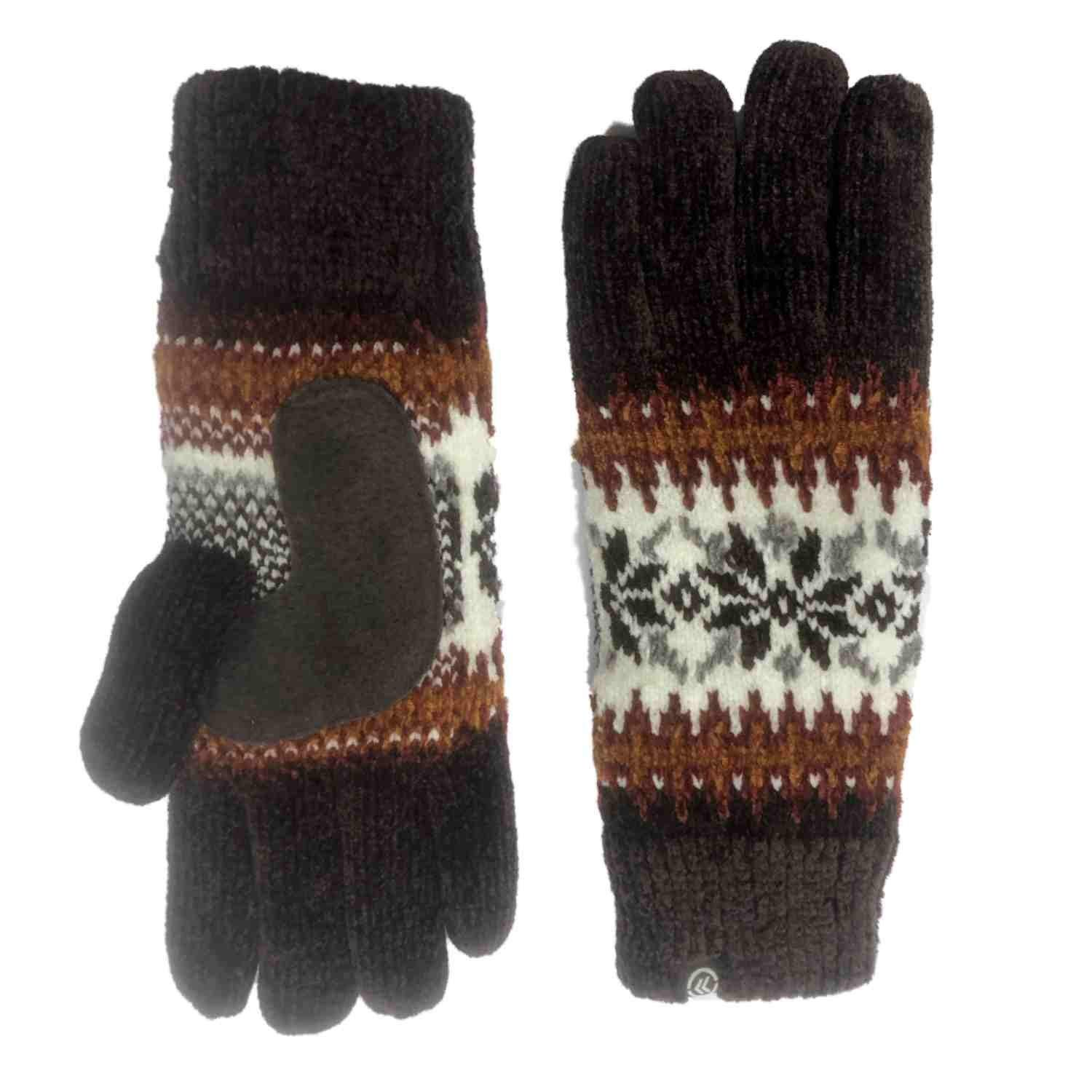 130a604b4 Get Quotations · Isotoner Womens Brown Snowflake Rayon Chenille Knit Gloves  Fleece Lining