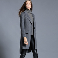 WA9348 High - end winter models double - sided cashmere coat women 's fashional long suit coat
