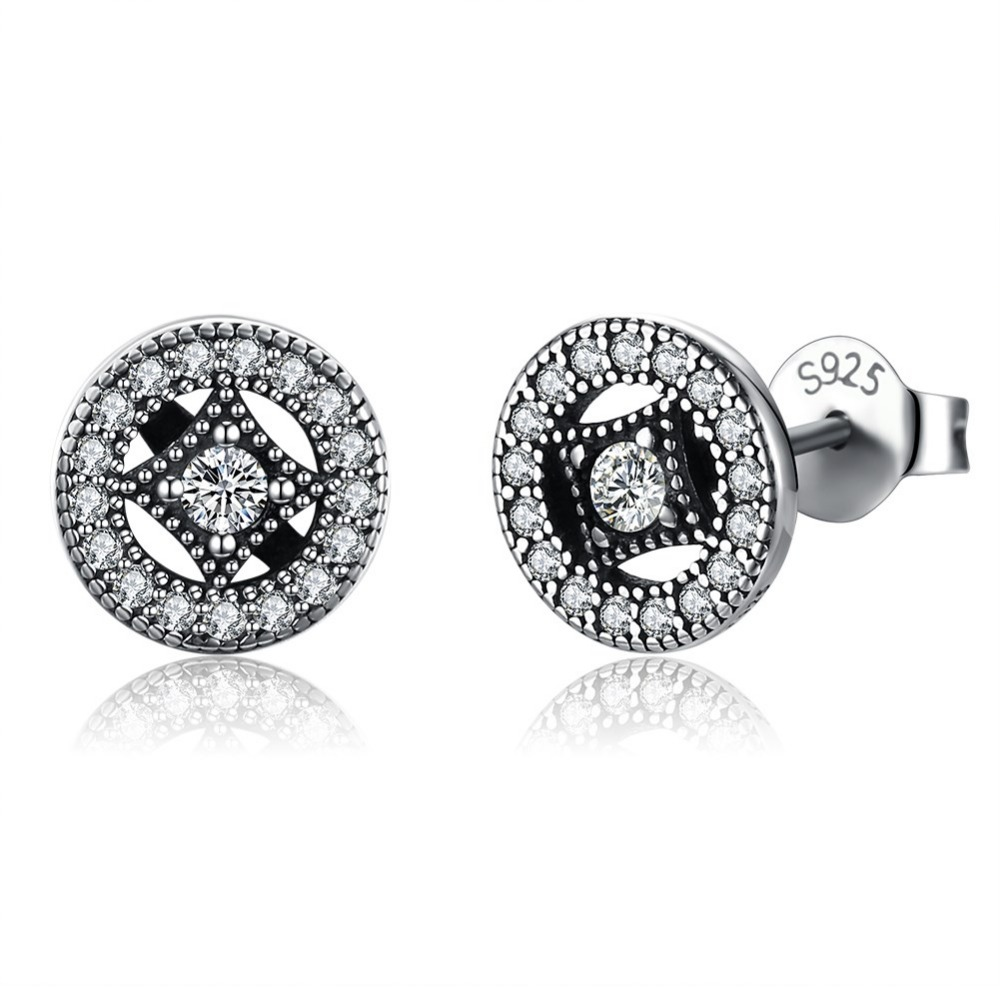 Fancy 925 sterling silver zircon stone vintage stud <strong>earrings</strong> for women