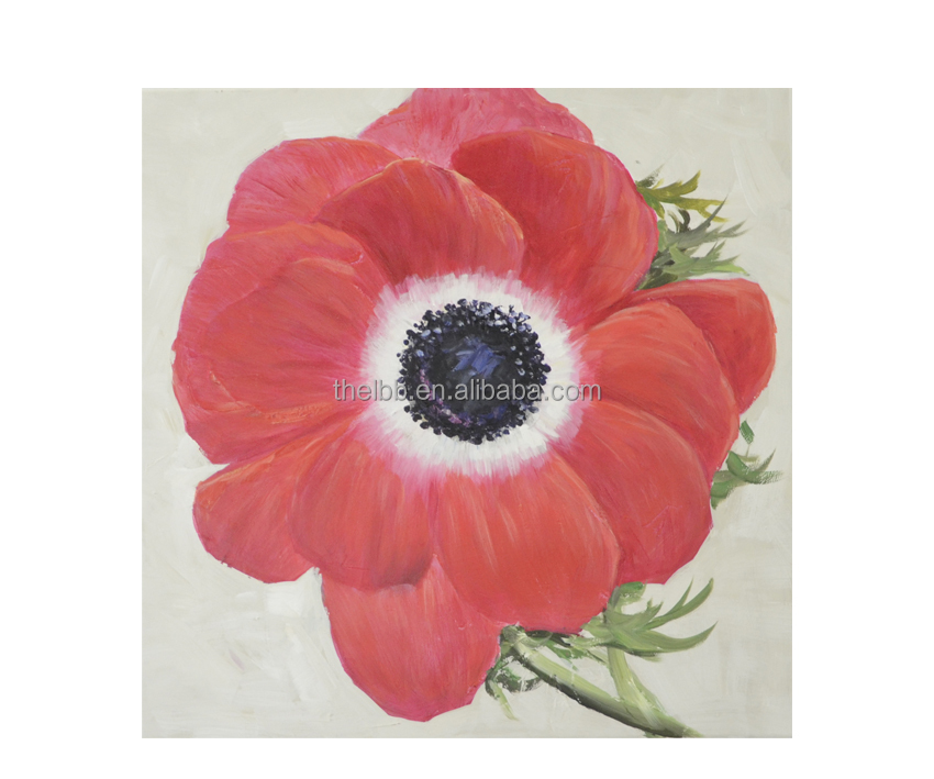 Handpainted canvas oil painting single red flower 60x60cm