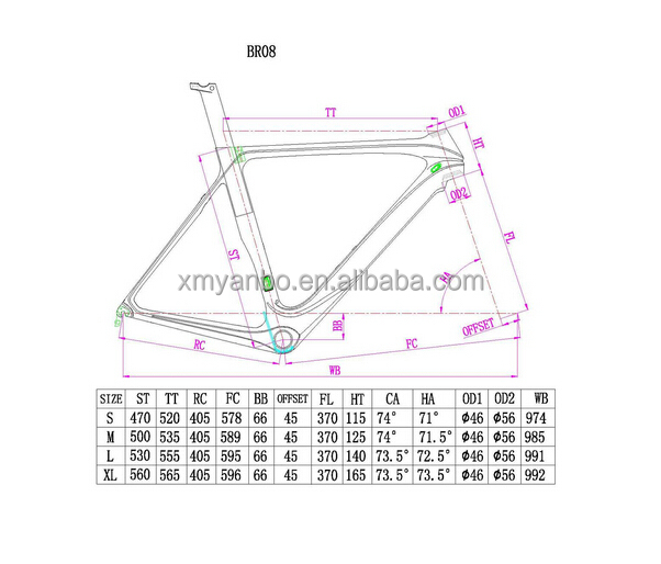 Wholesale 700C carbon road bike frame size 470/500/530/560mm ...