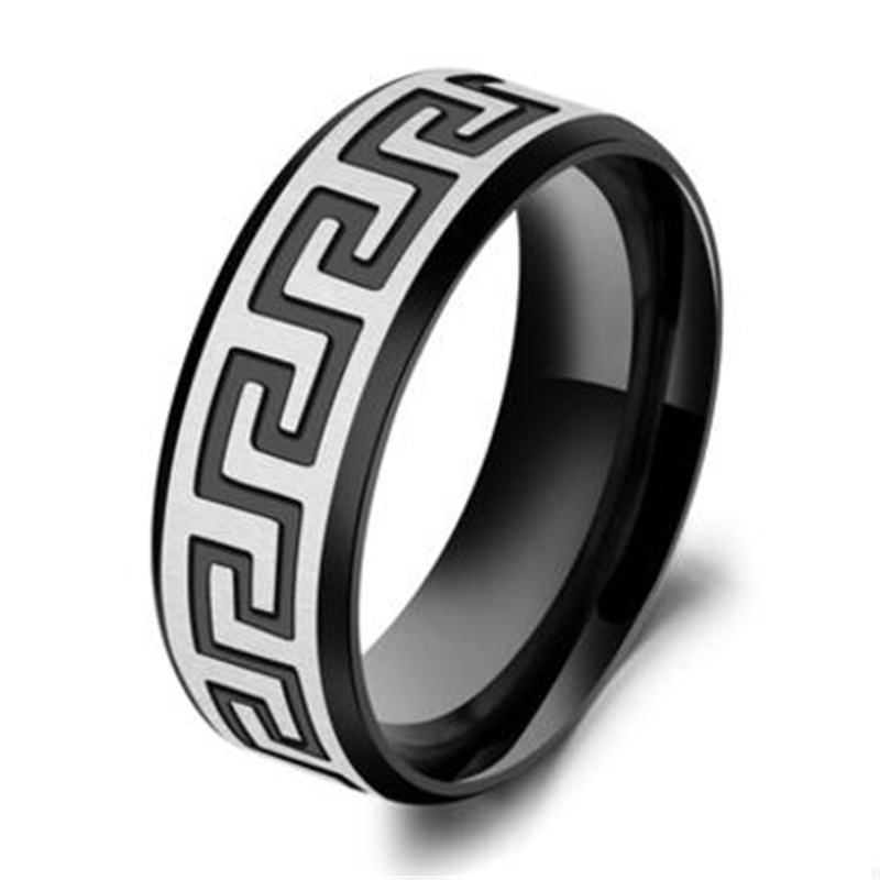 Manufacturer provides straightly han edition titanium jewelry wholesale steel Men's rings Black wall graphics