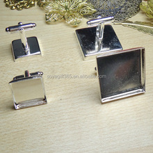 16-25mm Silver Plated Square Blank French Cufflink Base For Glass Cabochon