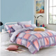 KOSMOS light color 100% cotton plaid printed quilt bed cover bedding set