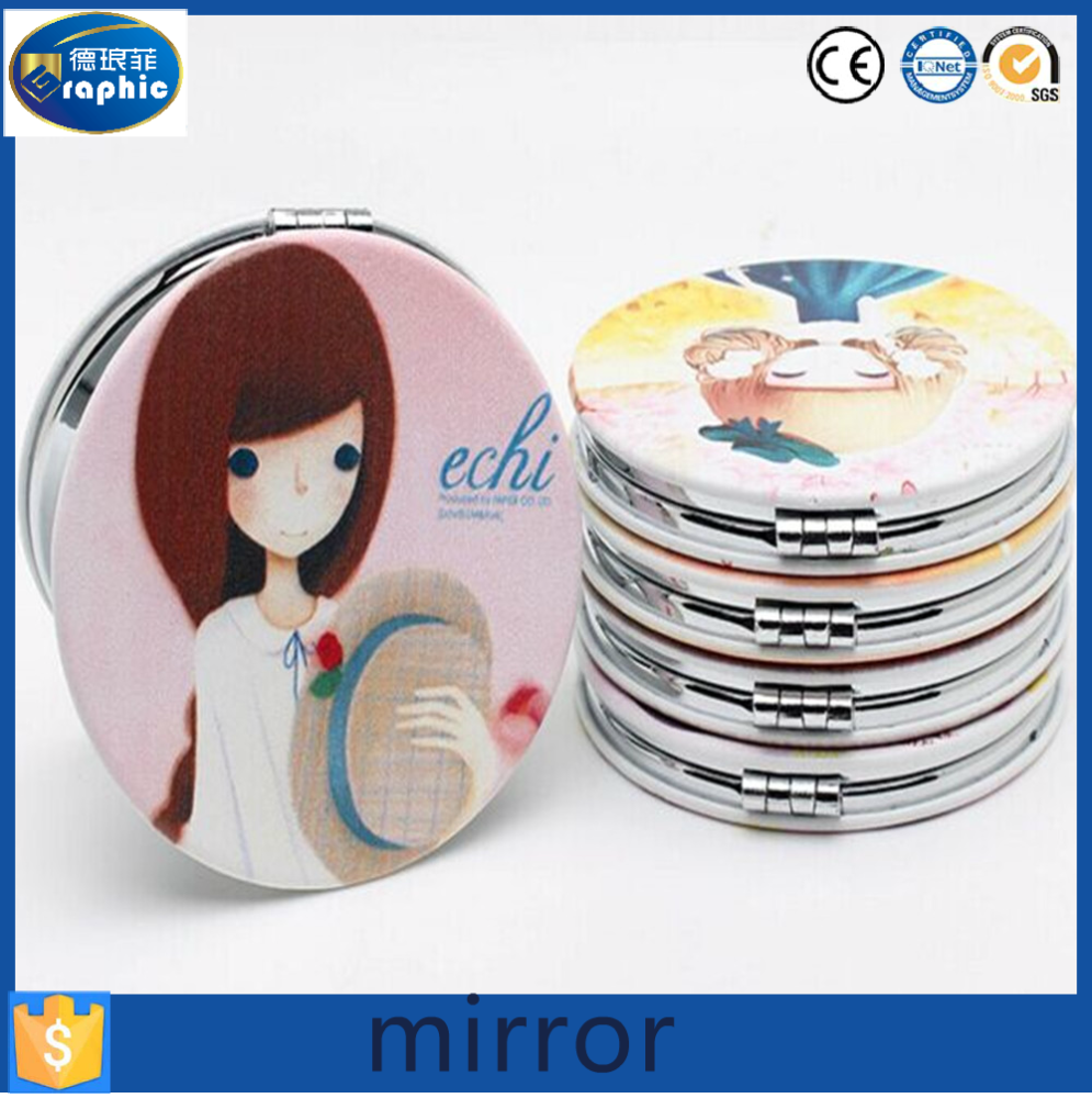 Round or heart shape small PU leather cosmetic pocket mirror