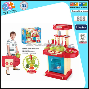 Family Big Kitchen Set Toy Kids Plastic Toy Kitchen With Tableware