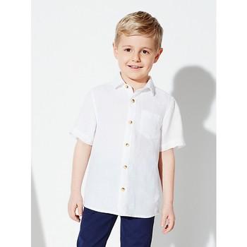 6ae2a2e5 100% Linen White Blank Children Boy's Linen short sleeve shirts / Pure Linen  White Plain