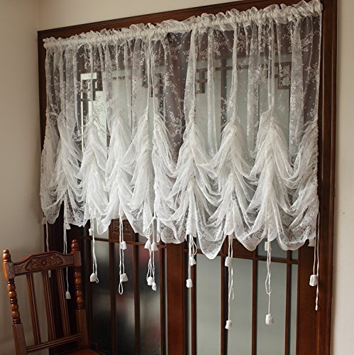 Get Quotations FADFAY Elegant White Lace Embroidered Sheer Ballon Curtains Adjustable Tie Up Curtain Shades