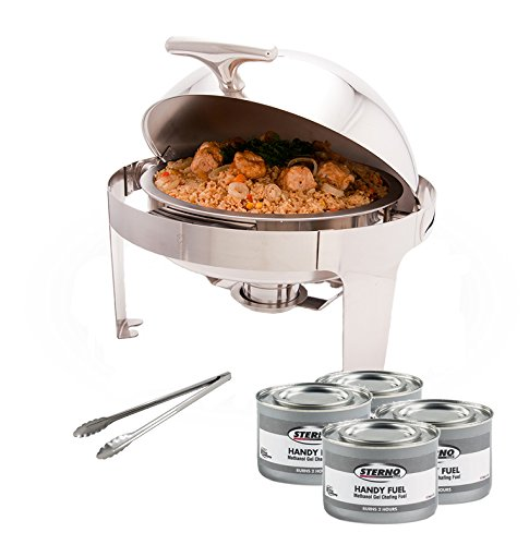 PrestoWare PWR-1RR, Round Roll-Top Chafer with Stand, Stainless Steel 5 Quart Chafing Dish Set with 4 Chafing Dish Methanol Gel Fuels and 16-Inch Stainless Steel Multi-Function Tong