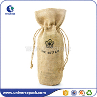 wholesale natural burlap drawstring wine bags factory made