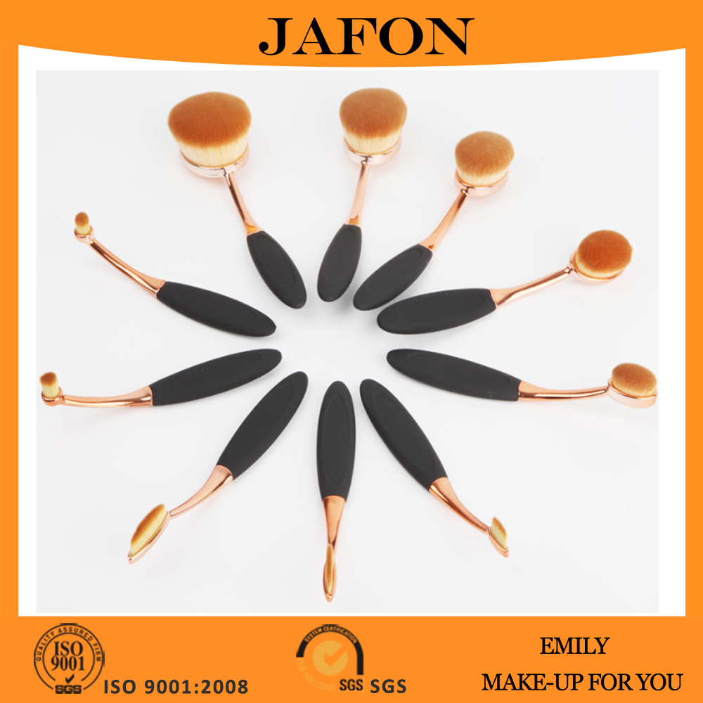 Popular 10 pcs rose gold oval toothbrush style makeup brushes set