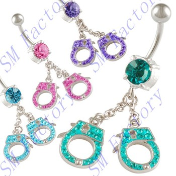 Button Bar Crystal Belly Rings Handcuff Cute Dangly Navel Piercing Earrings Body Piercing Jewelry Smzbr512009 Buy Button Bar Crystal Belly
