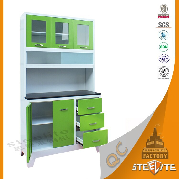 Space Saving Style Green Pvc Pantry Cupboards Kitchen Cabinets