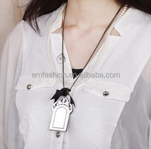 Fashion New Vintage Lovely Bowknot Mirror Pendant Women's Pearl Necklace