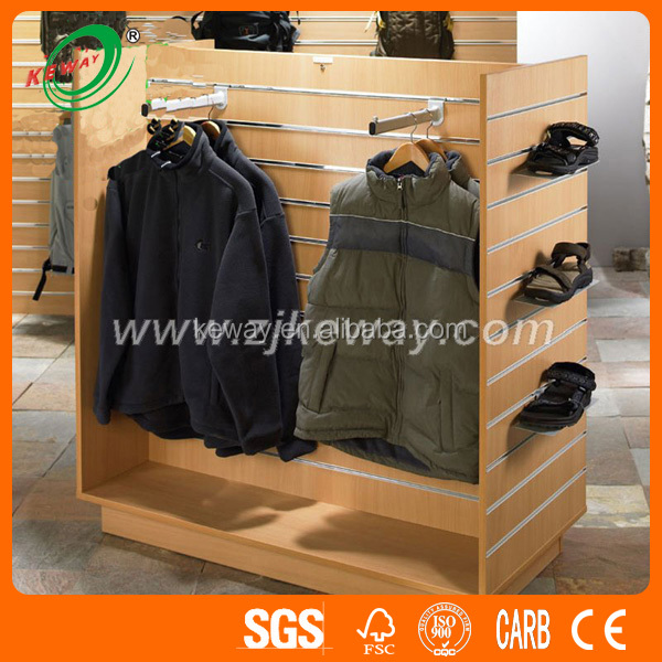 Clothes Shop MDF Slatwaqll Display Shelf Design