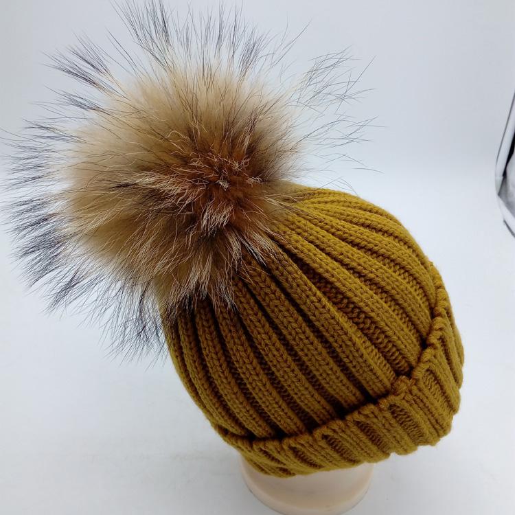 460dea45 Custom Ladies Winter Knitted Toque Racoon Fox Fur Pom Pom Beanie Hat ...