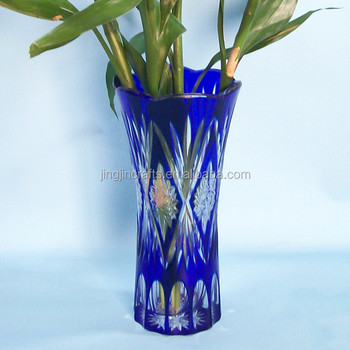 Exquisite Hand Cutting Cobalt Blue Glass Flower Vaseshigh Quality