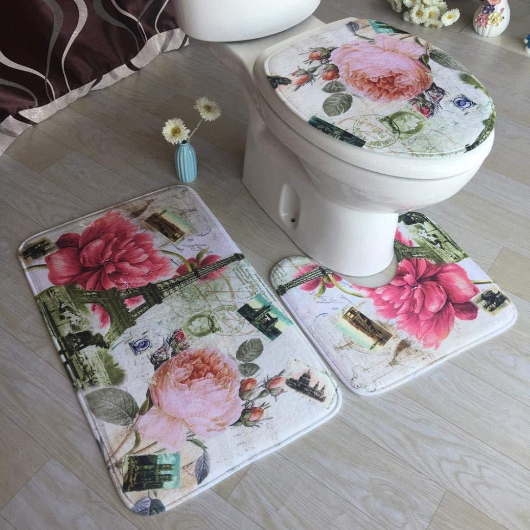 3 Pcs/set Bathroom Non-Slip Blue Ocean Style Pedestal Rug + Lid Toilet Cover + Bath Mat By Makaor (Size: 45x75cm/45x40cm/38x43cm(As picture), # E)