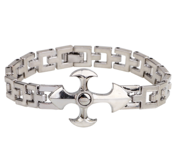 B34013 Halo cheap snap claspes titanium stainless steel cross bracelet for men and women