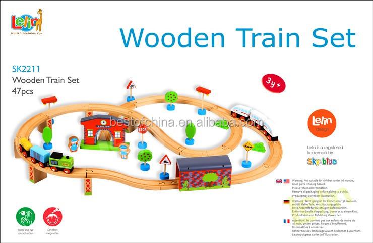 New Children Wooden Toy Train Set Quality Kids Wooden