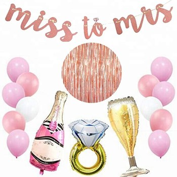 "12 Inch Latex Balloon and  ""Miss To Mrs"" Paper Banner Set With Diamond Ring Wine Foil Balloon  For Wedding and Party Supplies"