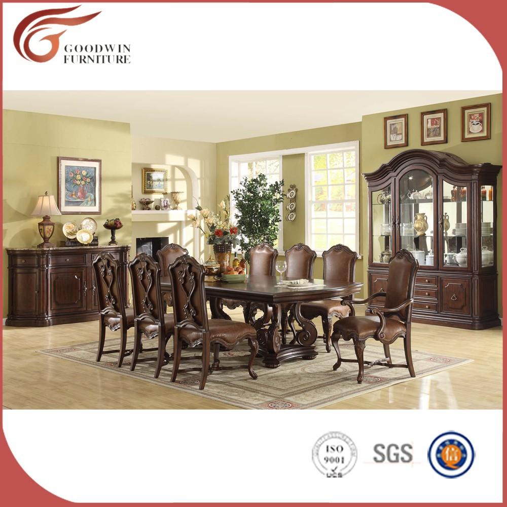 Tallado a mano mesa comedor conjuntos juego de comedor de for Muebles de sala tallados en madera